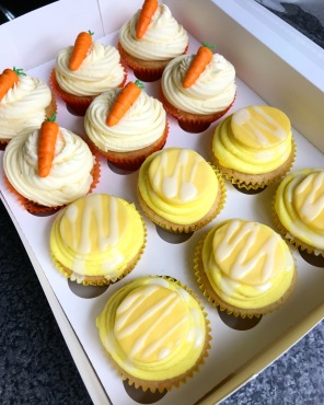 Mix of Carrot Cupcakes and Lemon Drizzle Cupcakes