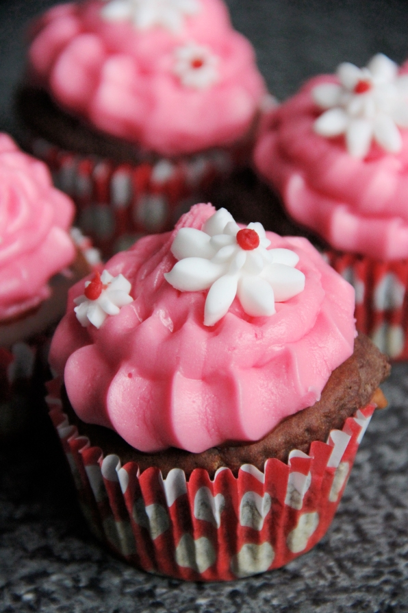 Customised Birthday Chocolate Cupcakes with Rose flavoured Icing