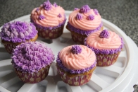 Customized Birthday Cupcakes with a Purple and Pink Colour Scheme