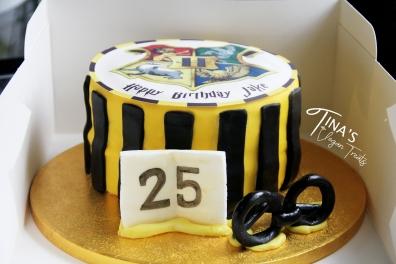 Hufflepuff themed, 25th birthday cake.