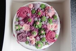 Chocolate sponge with caramel filling- Flower Theme.